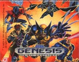 Cartridge artwork for X-Men on the Sega Nomad.