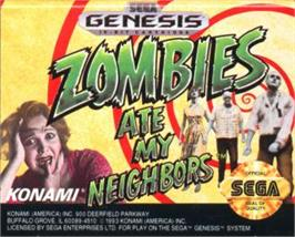 Cartridge artwork for Zombies Ate My Neighbors on the Sega Nomad.