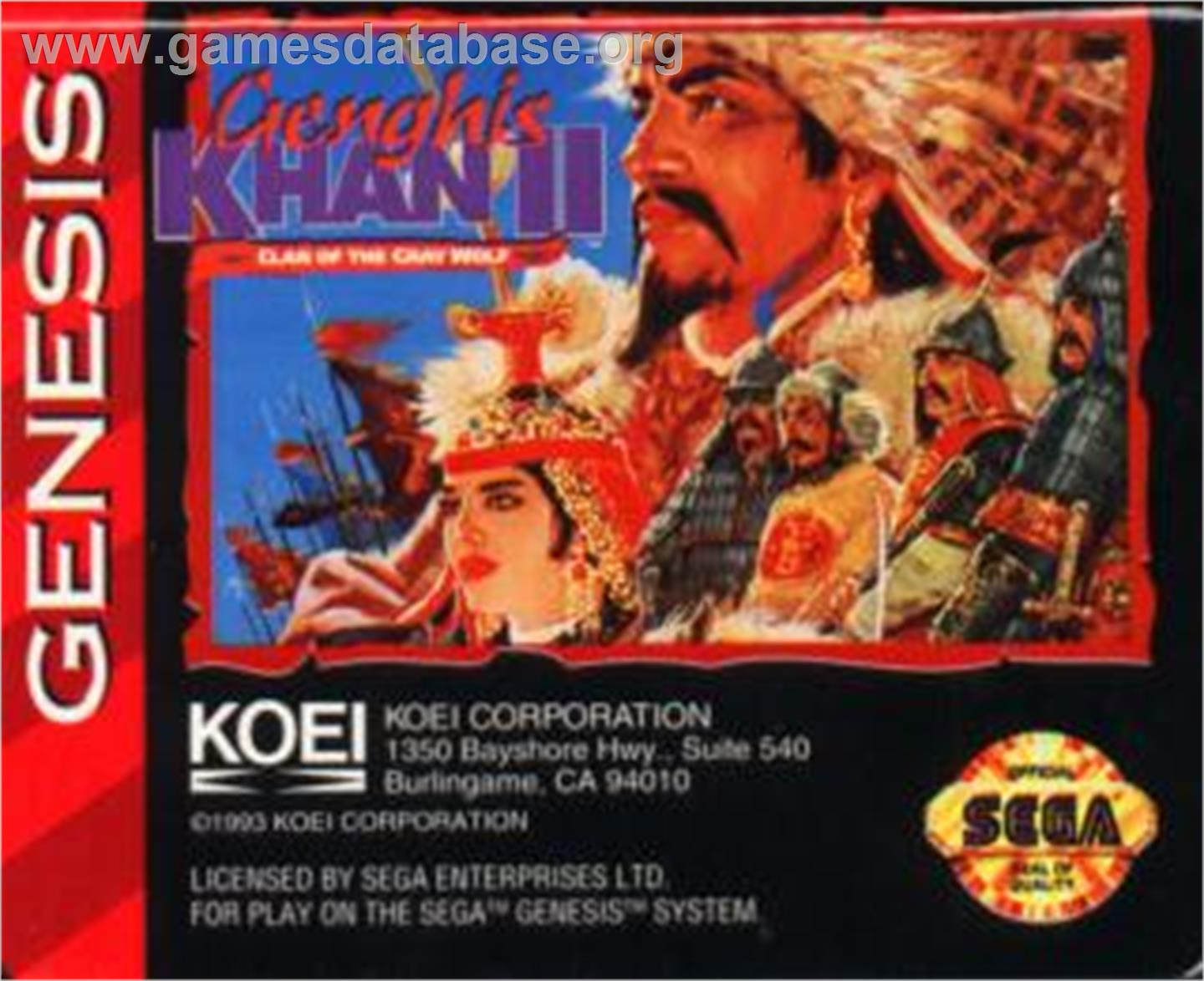 Genghis Khan 2: Clan of the Grey Wolf - Sega Nomad - Artwork - Cartridge