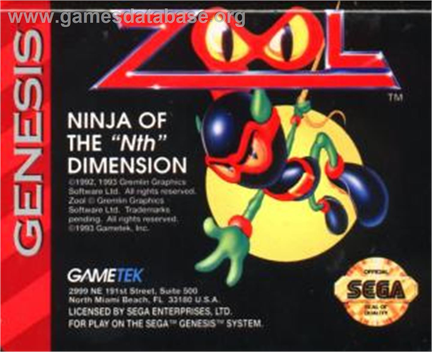 Zool - Sega Nomad - Artwork - Cartridge