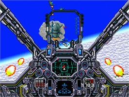 In game image of Air Diver on the Sega Nomad.