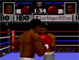 In game image of Boxing Legends of the Ring on the Sega Nomad.