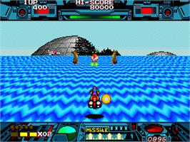 In game image of Burning Force on the Sega Nomad.