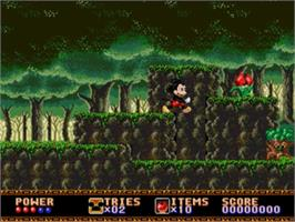 In game image of Castle of Illusion starring Mickey Mouse on the Sega Nomad.