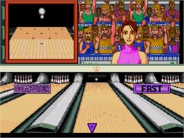 In game image of Championship Bowling on the Sega Nomad.