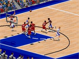 In game image of Coach K College Basketball on the Sega Nomad.