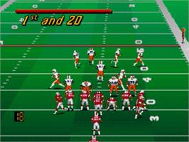 In game image of College Football USA 96 on the Sega Nomad.