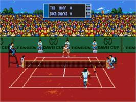 In game image of Davis Cup World Tour Tennis on the Sega Nomad.