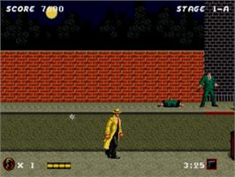 In game image of Dick Tracy on the Sega Nomad.