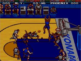 In game image of Double Dribble: The Playoff Edition on the Sega Nomad.