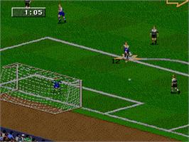In game image of FIFA 98: Road to World Cup on the Sega Nomad.