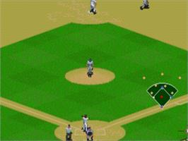 In game image of Frank Thomas Big Hurt Baseball on the Sega Nomad.