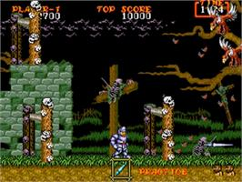 In game image of Ghouls'n Ghosts on the Sega Nomad.