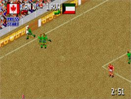 In game image of Head-On Soccer on the Sega Nomad.