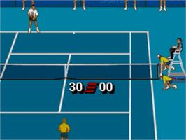 In game image of IMG International Tour Tennis on the Sega Nomad.
