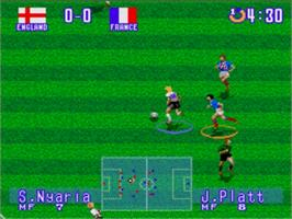 In game image of International Superstar Soccer Deluxe on the Sega Nomad.