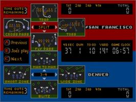 In game image of Joe Montana Football on the Sega Nomad.