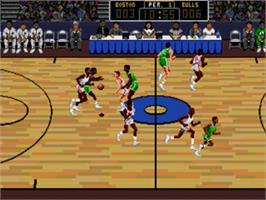 In game image of Lakers vs. Celtics and the NBA Playoffs on the Sega Nomad.