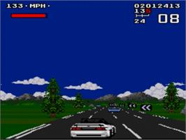 In game image of Lotus Turbo Challenge 2 on the Sega Nomad.