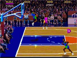 In game image of NBA Jam on the Sega Nomad.