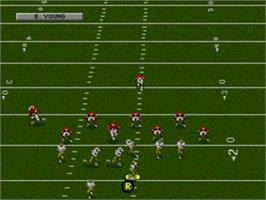 In game image of NFL Football '94 Starring Joe Montana on the Sega Nomad.