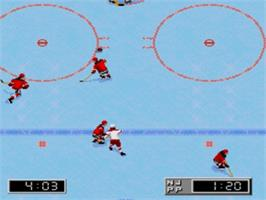 In game image of NHL '96 on the Sega Nomad.
