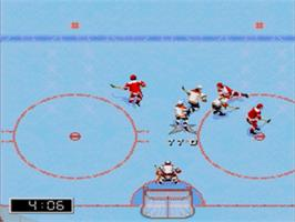 In game image of NHL '98 on the Sega Nomad.
