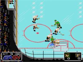 In game image of NHL Hockey on the Sega Nomad.