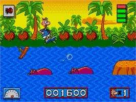 In game image of Normy's Beach Babe-O-Rama on the Sega Nomad.