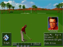 In game image of PGA Tour Golf 3 on the Sega Nomad.