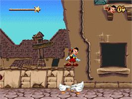 In game image of Pinocchio on the Sega Nomad.