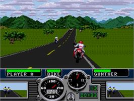 In game image of Road Rash on the Sega Nomad.