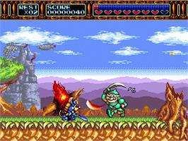 In game image of Rocket Knight Adventures on the Sega Nomad.