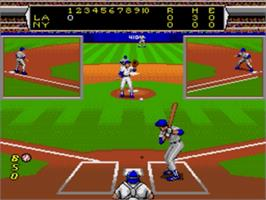 In game image of Roger Clemens' MVP Baseball on the Sega Nomad.