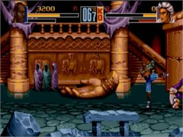 In game image of Shaq Fu on the Sega Nomad.