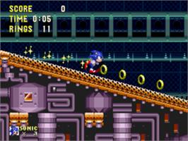 In game image of Sonic and Knuckles on the Sega Nomad.