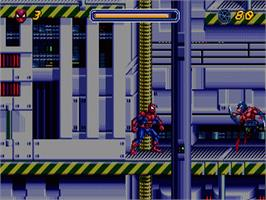 In game image of Spider-Man: The Animated Series on the Sega Nomad.