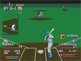 In game image of Sports Talk Baseball on the Sega Nomad.