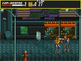 In game image of Streets of Rage on the Sega Nomad.