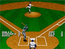In game image of Tecmo Super Baseball on the Sega Nomad.