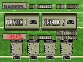 In game image of Tecmo Super Bowl III: Final Edition on the Sega Nomad.