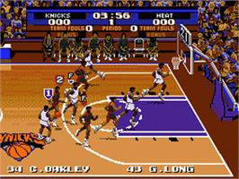 In game image of Tecmo Super NBA Basketball on the Sega Nomad.