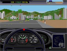 In game image of Test Drive II - The Duel on the Sega Nomad.