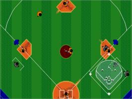In game image of Tommy Lasorda Baseball on the Sega Nomad.