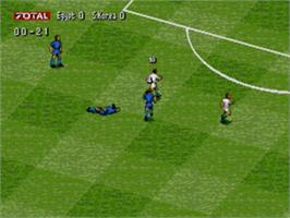 In game image of Total Football on the Sega Nomad.