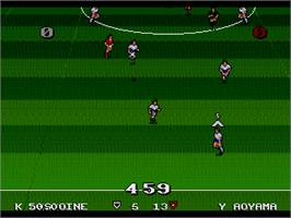 In game image of Ultimate Soccer on the Sega Nomad.