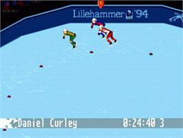 In game image of Winter Olympics: Lillehammer '94 on the Sega Nomad.