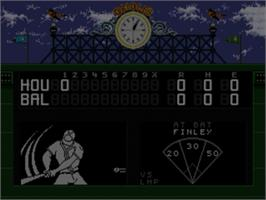 In game image of World Series Baseball '95 on the Sega Nomad.