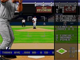 In game image of World Series Baseball '98 on the Sega Nomad.