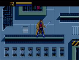 In game image of X-Men on the Sega Nomad.
